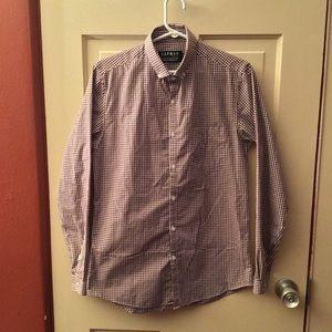 Top Man long sleeve checkered dress shirt
